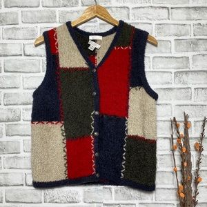 Hand Embroidered Mohair Color block Sweater Vest M